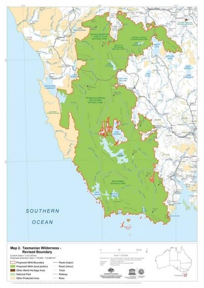 タスマニア大自然世界遺産地図